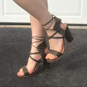Olive green strappy high heeled sandals